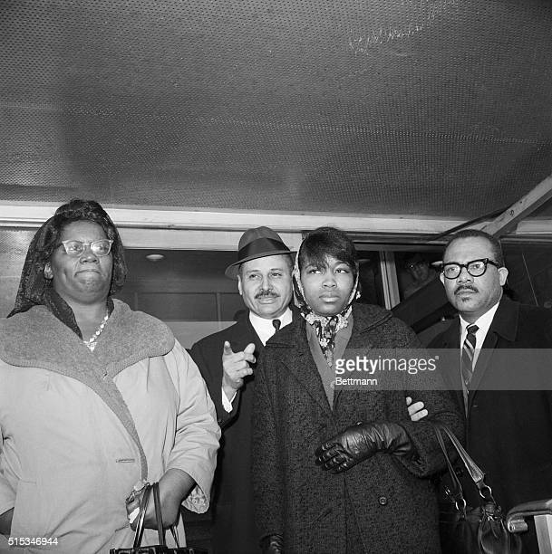 2/22/1965New York NY The wife of slain Negro Seperationist leader Malcolm X Mrs Betty Shabazz leaves the morgue at Bellevue Hospital in New York...