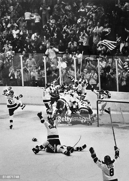 2/22/1980Lake Placid NY In a scene of wild jubilation American Olympic hockey players celebrate their upset 43 victory over the Soviet Union in the...
