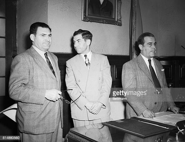 2/23/1947Havana Cuba Charles Lucky Luciano former New York gang cheif and convicted whiteslaver is shown in custody of Senor Bernito Berrera head of...