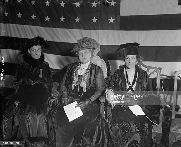 2/24/1916New York NY NY WOMEN HOLD CONGRESSIONAL CONVENTION Left to right Mrs Charles S Whitman wife of the Governonr of New York Mrs Carrie Chapman...