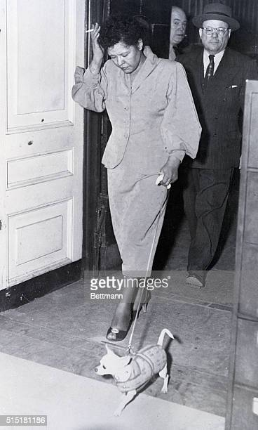 Philadelphia, PA - Singer Billie Holiday is shown leaving the pokey with her pet dog following her release on bail on charges of being a narcotics...
