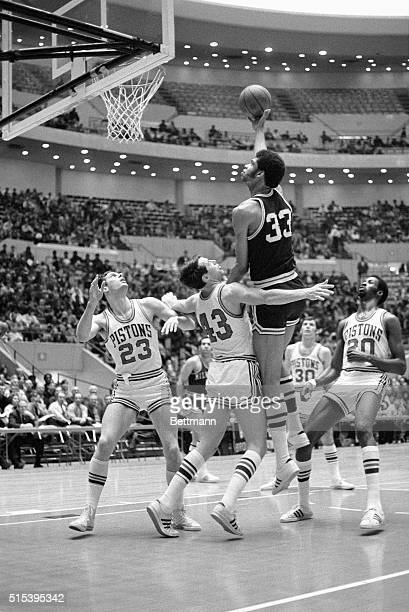 2/24/1970Detroit MI Milwaukee rookie sensation Lew Alcindor scores with a hook shot during the first quarter of the 2/24 DetroitMilwaukee game at...