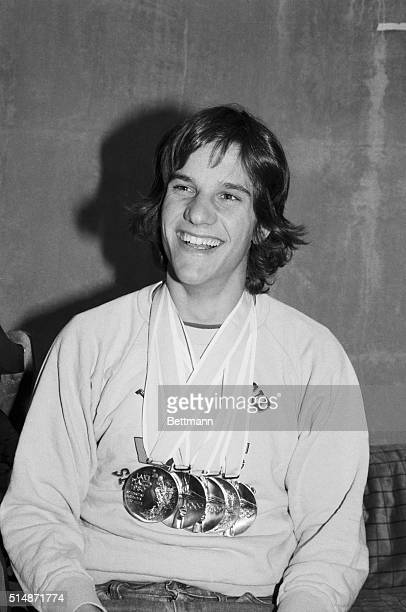 2/24/1980Lake Placid NY Eric Heiden America's new super star poses with the five gold medals he won in a clean sweep of all men's speedskating events...