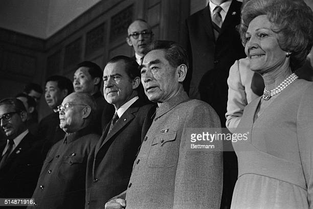 2/25/1972Peking China On the eve of President Nixon's departure from Peking he and Chinese Premier Chou Enlai are seen in this close up at the state...