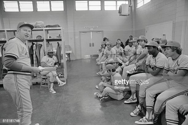2/25/1975St Petersburg FL St Louis Cardinals manager Red Schoendienst talks with his pitchers and catchers as the Cards launch their spring training...