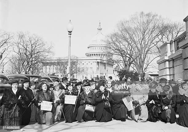 2/26/1941Washington DC Members of the 'Mother's Crusade' against the LendLease bill kneel in prayer near the Capitol in a plea to Congress to kill...
