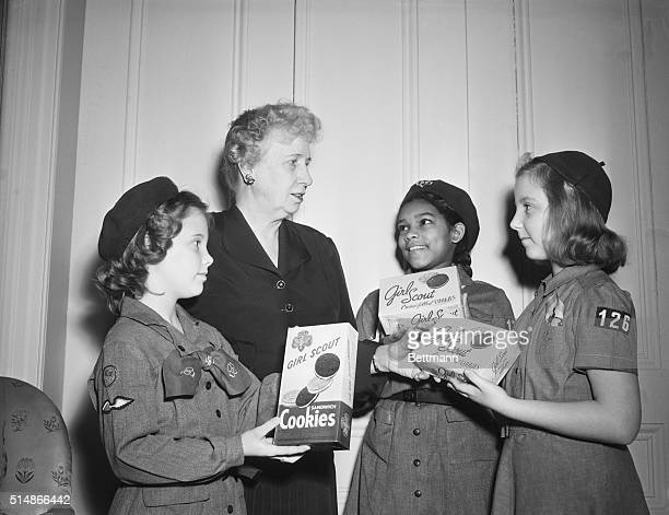 2/27/1951Washington DC Mrs Harry S Truman wife of the President opens the 1951 Girl Scout cookie sale by accepting the first box of cookies at Blair...