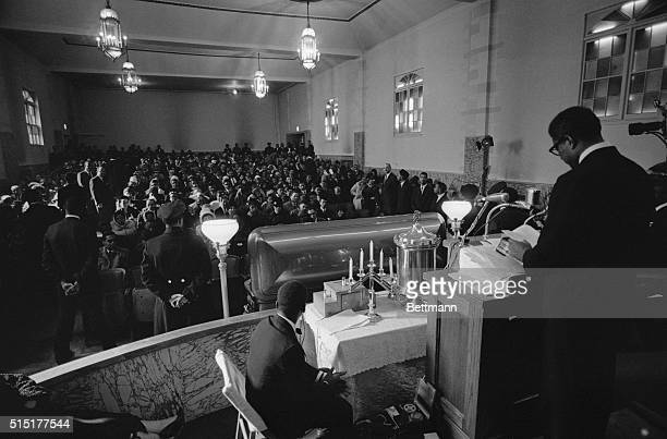 2/27/1965New York NY Negro actorplaywright Ossie Davis speaks to a crowd of some 1000 persons attending funeral for slain Negro extremist Malcolm X...