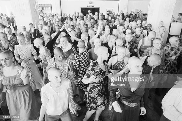 2/27/1975Oakland CA More than 500 women from Synanon communities throughout California went prematurely bald shaving their heads in a demonstration...