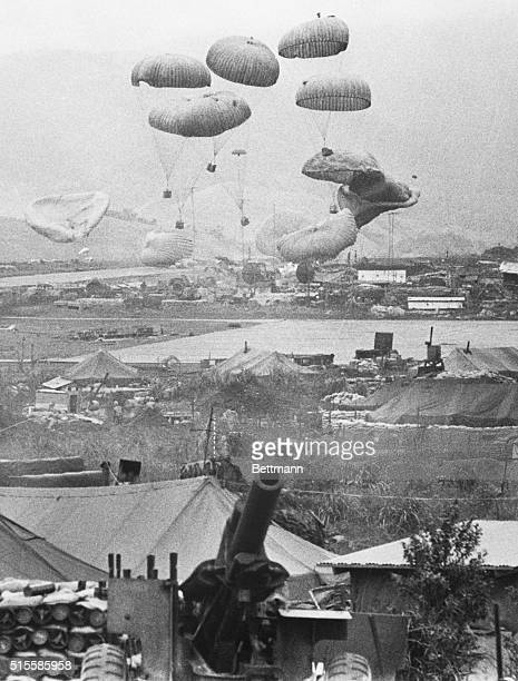 2/29/1968Khe Sanh South Vietnam A load of supplies is parachuted into the beleaguered US Marine stronghold at Khe Sanh