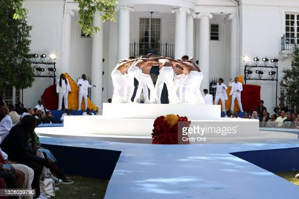 22Gz performs during the Pyer Moss Couture Haute Couture Fall/Winter 2021/2022 show as part of Paris Fashion Week on July 10, 2021 in Irvington, New...