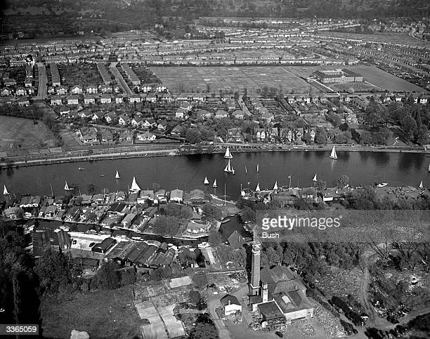 A fleet of sailing boats on the River Thames at Teddington seen from above