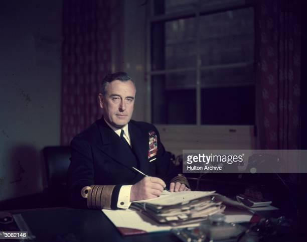 First Sea Lord Louis Mountbatten Earl Mountbatten at his office in the Admiralty