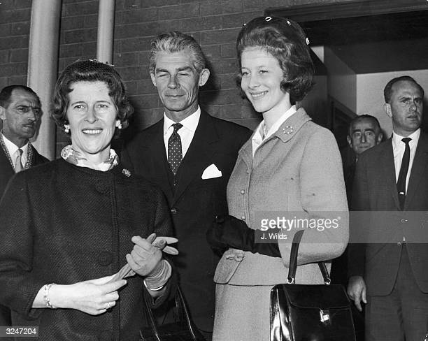 Prince Johann Georg of Hanover his wife Princess Sophia of Greece and their daughter Princess Clarissa of Hesse arriving at London Airport to attend...