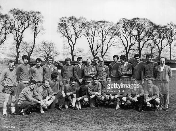 The England World Cup team photographed at Wembley before the World Cup competition in Mexico Back row Asst trainer Les Cocker Martin Peters Alan...