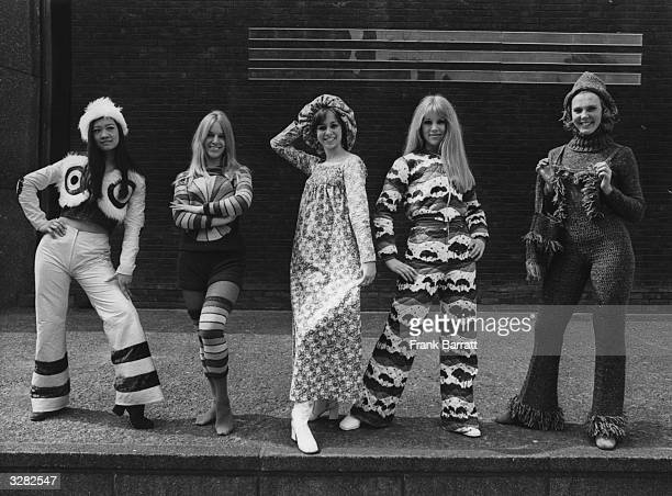 Members of the dance group, 'Young Generation,' modelling clothes by 'Just John' at the King's Road Club Exhibition launched at the Royal College of...