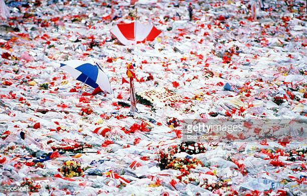 22nd APRIL 1989, F,A Cup Semi Final, Hillsborough, Sheffield, Liverpool v Nottingham Forest, A sea of flowers on the Anfield pitch, in memory of the...