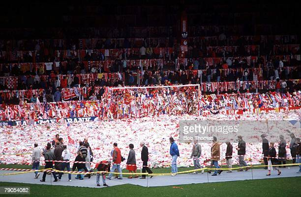 22nd APRIL 1989 FA Cup Semi Final Hillsborough Sheffield Liverpool v Nottingham Forest A sea of flowers on the Anfield pitch in memory of the...