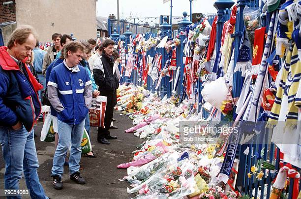 22nd APRIL 1989 FA Cup Semi Final Hillsborough Sheffield Liverpool v Nottingham Forest A sea of flowers at Hillsborough stadium in memory of the...