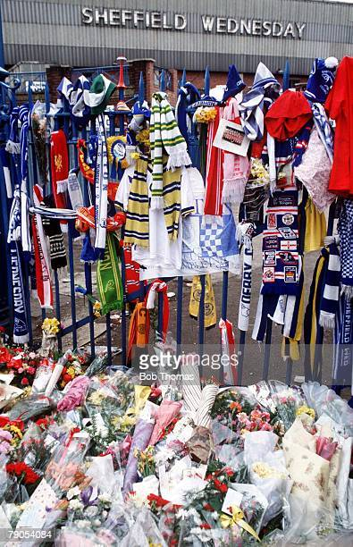 22nd APRIL 1989, F,A Cup Semi Final, Hillsborough, Sheffield, Liverpool v Nottingham Forest, A sea of flowers at Hillsborough stadium, in memory of...
