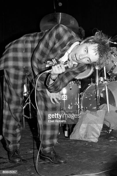 NEW YORK 22nd APRIL John Lydon performs live on stage with Public Image Limited at Great Gildersleeves in New York on 22nd April 1980 Lydon's bottle...