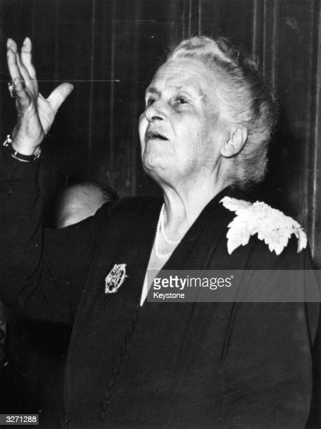 Italian physician and educationalist Maria Montessori a candidate for the Nobel Prize takes inauguration at the 8th International Montessori Congress