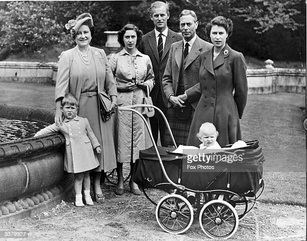 The Royal Family during a visit to Balmoral Castle Queen Elizabeth Princess Margaret Rose Prince Philip Duke of Edinburgh King George VI and Princess...