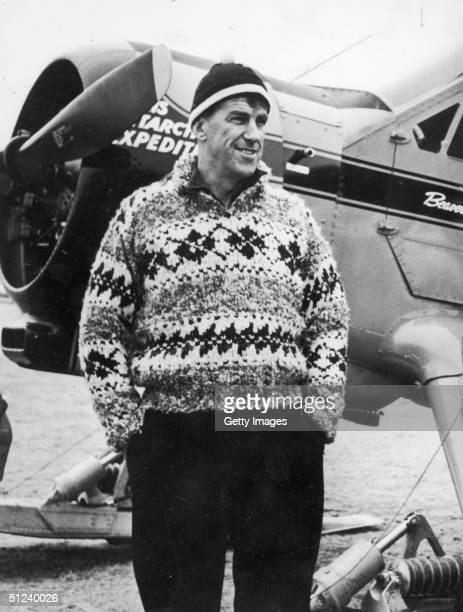 22nd August 1956 New Zealand explorer and mountain climber Sir Edmund Hillary stands in front of a De Havilland Beaver airplane New Zealand Hillary...