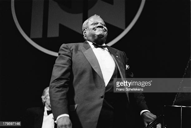 22nd: Canadian jazz pianist Oscar Peterson performs at Tuchinsky in Amsterdam, Netherlands on 22nd September 1989.