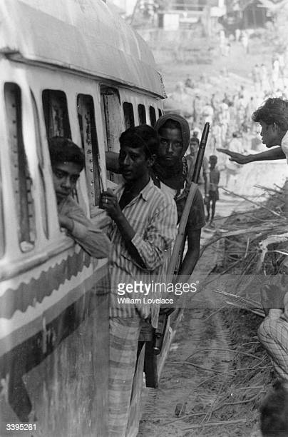 Indian Mukti Bahini troops on their way to the front line in East Pakistan during the IndiaPakistan conflict when India supported East Pakistan's...