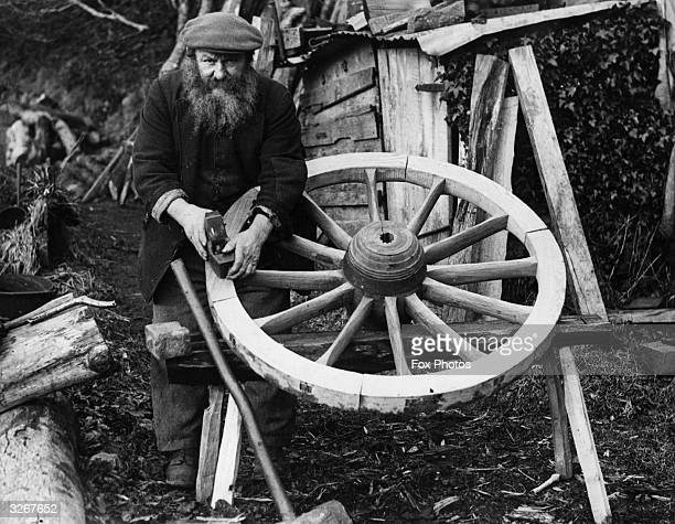 John Lock, of Bankbridge, Exmoor, plies his trade of wheelwright and claims to be the oldest craftsman in his profession on the moor.