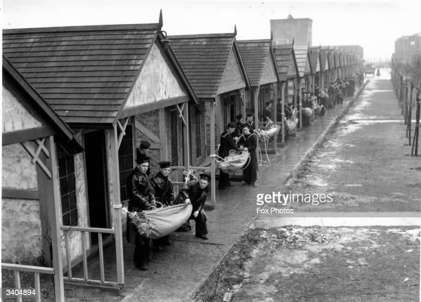 Navy recruits sling hammocks at HMS Arthur formerly Butlin's Holiday Camp Skegness Lincolnshire