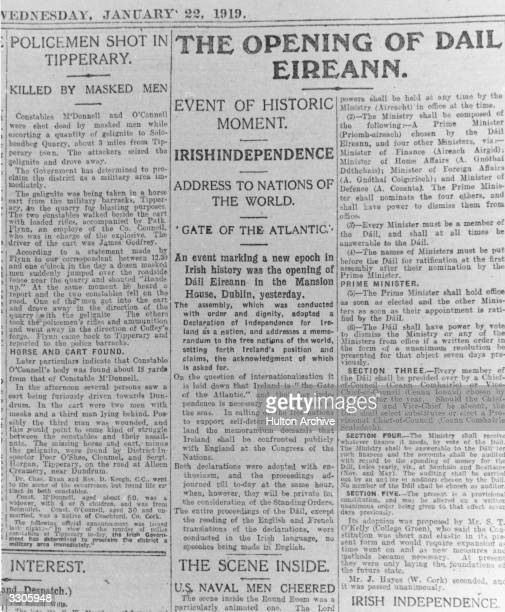Headlines reporting on the Opening of the first Dail Eireann the Sinn Fein Parliament in Mansion House Dublin The Irish Independent pub 1919