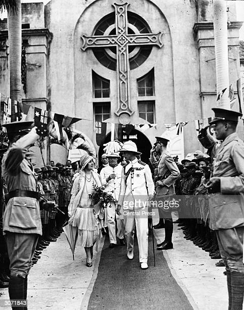 King George VI and the Queen leave Kingston Parish Church after an inspection of its interior