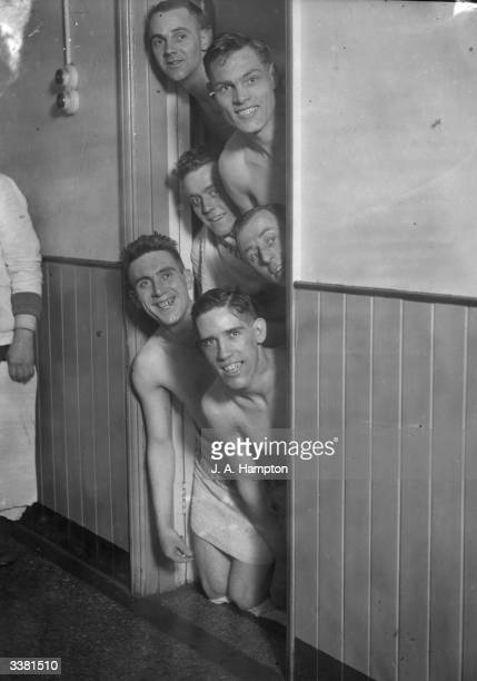 Some of the Fulham Football Club team enjoy brine baths at Southend before their FA Cup tie with Nottingham Forest on Saturday From top to bottom are...