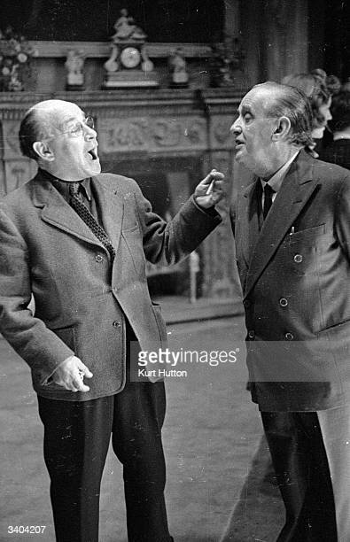 Actor Sydney Howard with producer Marcel Varnel in rehearsals for the comedy 'HalfWay To Heaven' playing at the Prince's Theatre Original Publication...