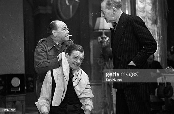 Actors act a scene in Marcel Varnel latest show 'Halfway to Heaven' at the Princes Threatre London Original Publication Picture Post 1606 A Producer...