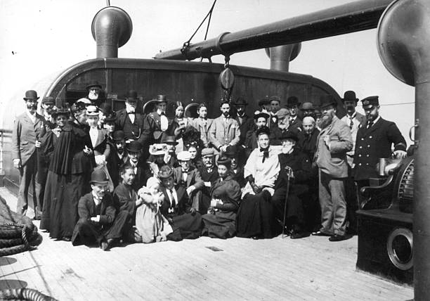 Passengers and crew on board the immigrant ship SS...