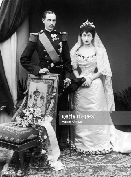 King Haakon VII of Norway and Queen Maud the daughter of the Prince of Wales at their wedding