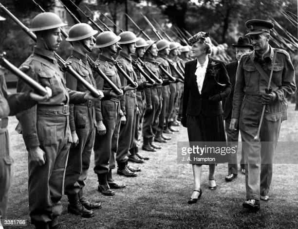Clementine Hozier Churchill wife of the prime minister inspects the PLA Home Guard and awards Certificates for Gallantry