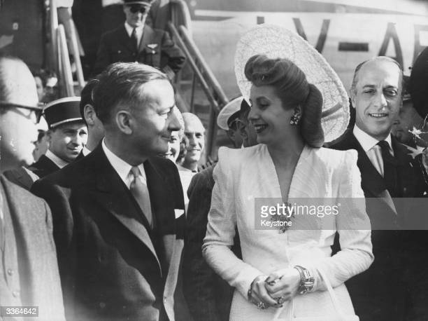 Eva Peron wife of Argentine president Juan Peron with French foreign affairs minister Georges Bidault on her arrival from Lisbon at Orly Airport Paris