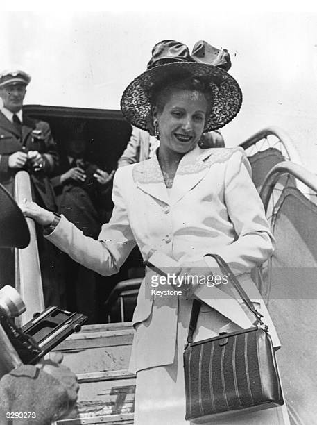 Madame Eva Duarte De Peron wife of the Argentine President leaves an airplane