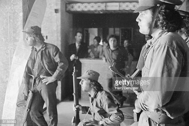 Members of the Greek National Guard under siege at the Ledra Palace Hotel in Nicosia the capital of Cyprus Only days before they had ousted...