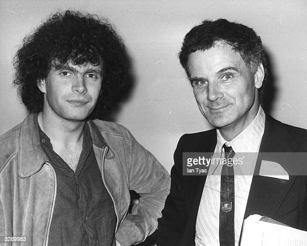 British conductor Simon Rattle who is to conduct the world premiere of 'Black Pentecost' by Peter Maxwell Davies seen at a Press conference to launch...