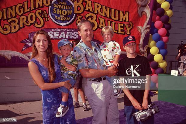 Britishborn actor Jane Seymour and fourth husband American actor James Keach and their children John Kristopher and Sean pose outdoors at a Ringling...