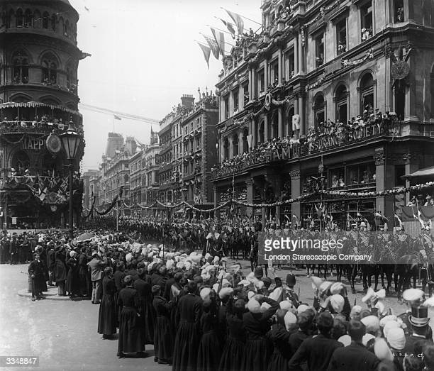 The Diamond Jubilee procession of Queen Victoria heading through Cheapside in London with the Lord Mayor of London and the Lancers NB Detail of image...