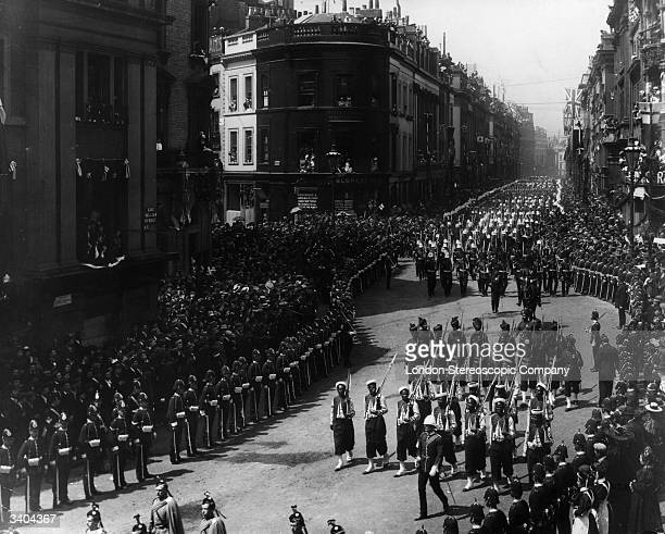 Members of The West India Rifles during Queen Victoria's Diamond Jubilee procession making their way along King Williiam St east London