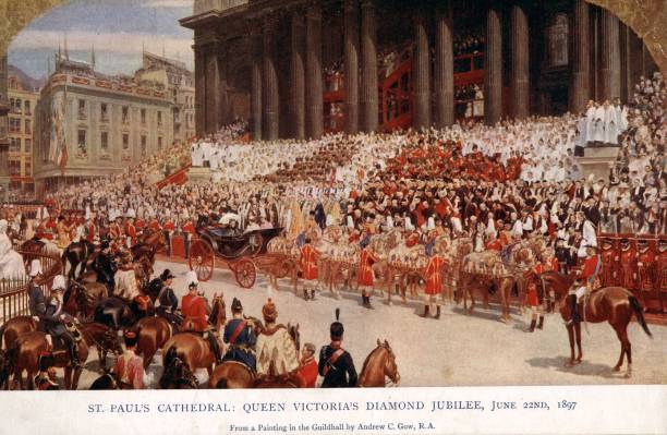 Queen Victoria arrives at St Paul's Cathedral for her...