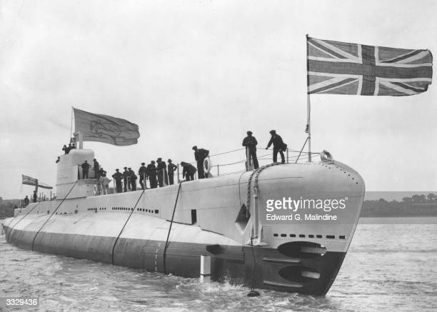 HM Submarine Parthian enters the water at Chatham Dockyard at its launching