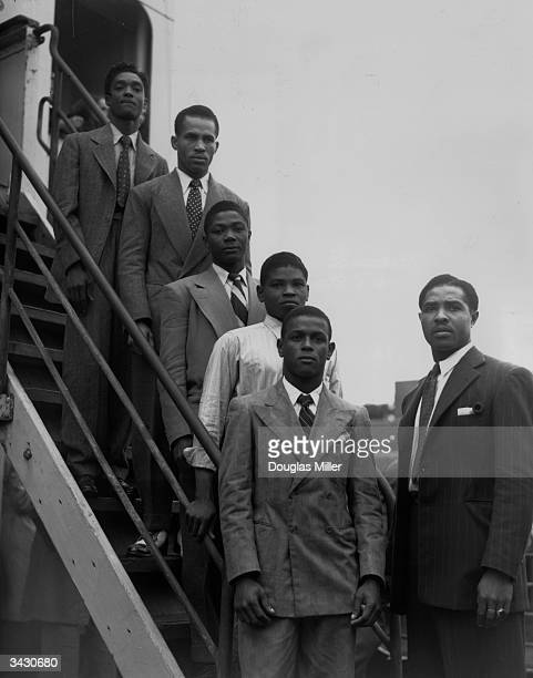 From the top hopeful Jamaican boxers Charles Smith Ten Ansel Essi Reid John Hazel Boy Solas and manager Mortimer Martin arrive at Tilbury on the...